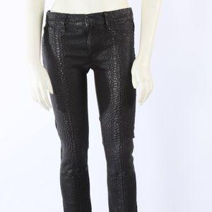 HUDSON Black Lambskin Snake Print Jeans Pants
